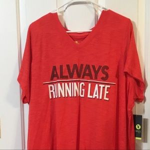 NEW Red Tee Shirt Plus Size 2X always Running Late